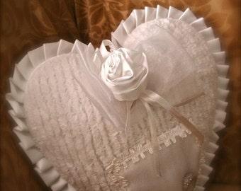 White heart shape ring bearer pillow
