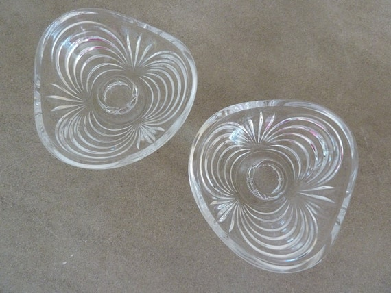 Mid Century Fancy Crystal Taper Candle Holders Caprice, Cambridge Glass Co. Set of 2 (SALE - Use coupon code SUMMER10 for an extra 10% off)