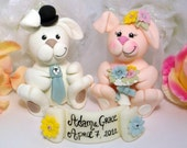 Bunny wedding cake topper with banner, customizable