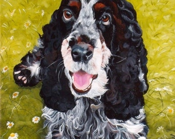 Custom dog portrait, pet painting on a 8x10 canvas, hand painted from your photo, dog art