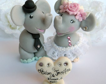 """Elephant cake topper for wedding with personalized banner - Tall figurines( over 4"""")"""