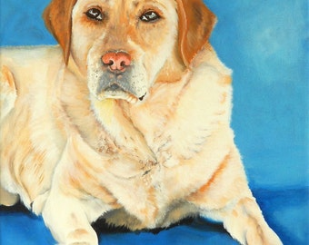 "Custom pet portrait, dog cat painting from your photo on a 10""x14"" canvas - labrador portrait"