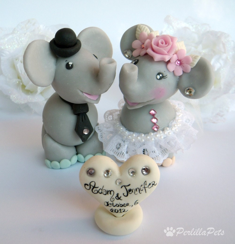 Elephant Cake Topper For Wedding With Personalized Banner