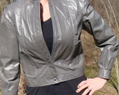 Vintage Gray Leather Jacket Short Waisted 80s Slate Grey Bomber Thriller Rocker Coat - Size S M..