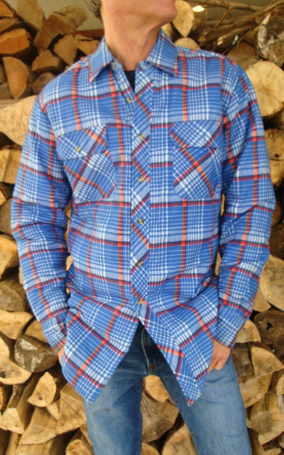 Vintage Blue Flannel Plaid Grunge Shirt - Quilted Lining - Size M