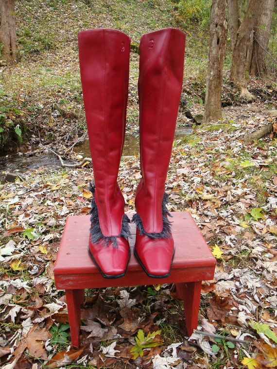 HOT Red Leather Boots Unique Gift fringe Knee High Zipper Diesel Boots - Size 7