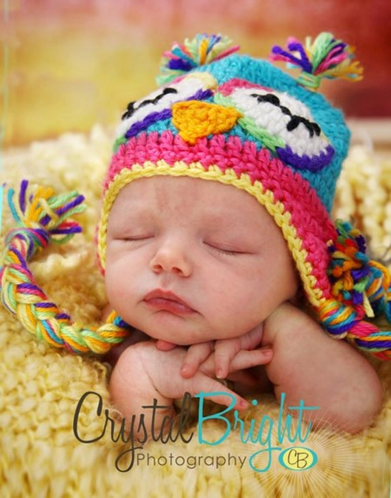 Rainbow Owl Crocheted Hat .- Great photo prop