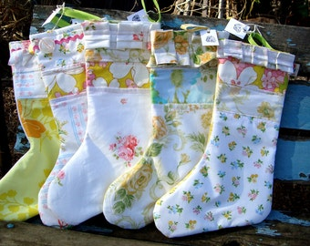Stocking made with vintage bed sheets