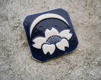 SALE Lotus Flower Brooch Crescent Moon ZEN Ceramic Relief Vintage 70s Artisan Navy Blue Enamel Boho Hippie New Age Lovely Gift