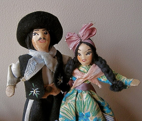 Vintage DOLLS South American Gaucho Couple Hand Painted Figures Posable Collectible Man and Woman Detailed Hand Sewn Folk Costumes
