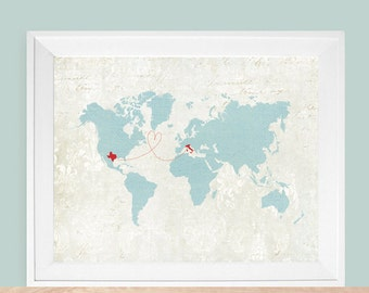 """Vintage Map, World Map Gift, Custom World Map, Custom Map Gift, Long Distance Gift, Sizes 5""""x7"""" up to 42""""x70"""" ( as featured by Disney)"""