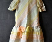 Girls cotton candy colored/striped pastel party dress, girls size 7, vintage retro fun