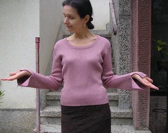 Vintage LUREX cotton knit sweater blouse, size M