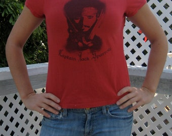 Off-the-Shoulder/Boat Neck Recycled T-Shirt: Red/Zebra Pirates of the Caribbean
