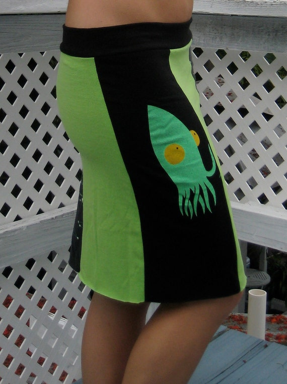 T-Shirt Skirt:  Black/Green Alien Constellations Glow in the Dark