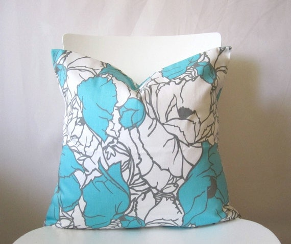 MINOR DAMAGE - 18 inch throw pillow cover, Teal or Aqua, and white. Large floral pattern, modern print. For indoor use.