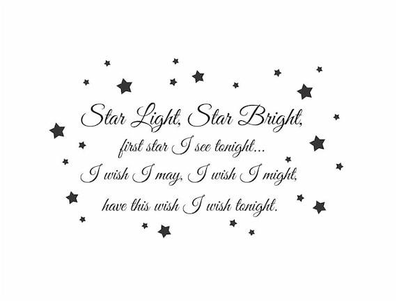 Star Light Star Bright Wish Vinyl Wall Decal - Baby Nursery Wall Quote Poem Wall Art  22H x 36W FS082
