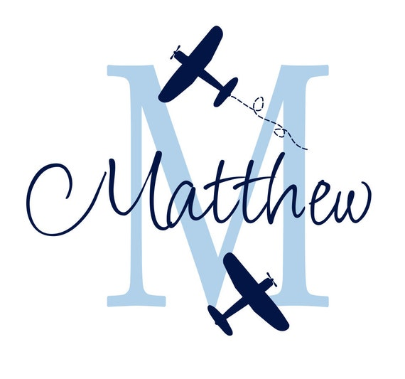 """Airplane Wall Decal Initial and Name Custom Vinyl Wall Decal for Boy Baby Nursery or Boys Room 22""""H x 24""""W Wall Art FS107"""