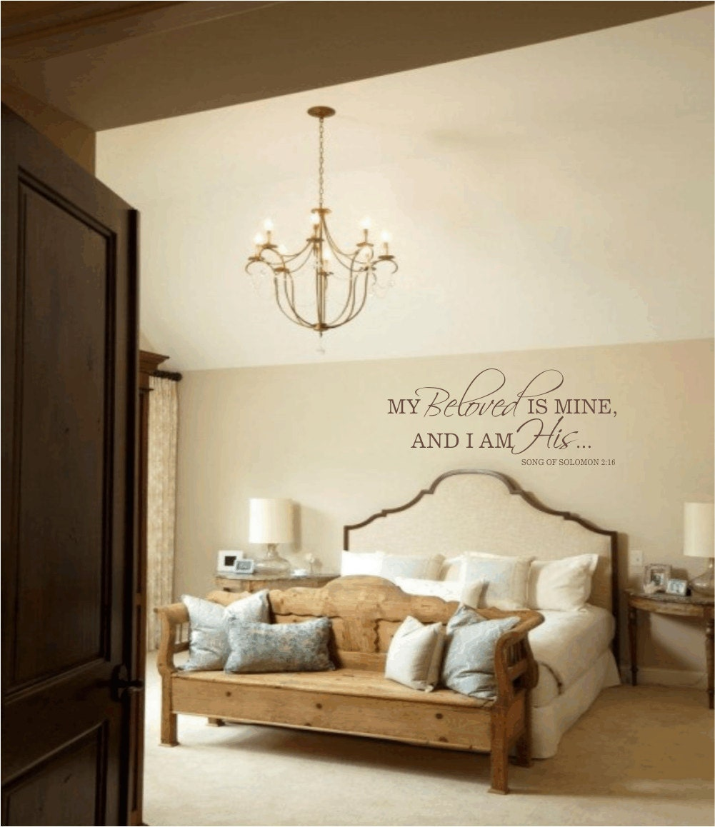 Master bedroom wall decal my beloved is mine and i am by for Bedroom wall images