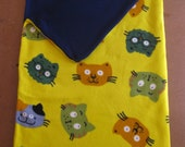 SLEEPING BAG TODDLER Day Care Pre School Cat Print Double layer fleece  Ages 2 to 5 yrs.
