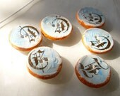 6 hand made ceramic buttons - D for Darling-  with gold Script