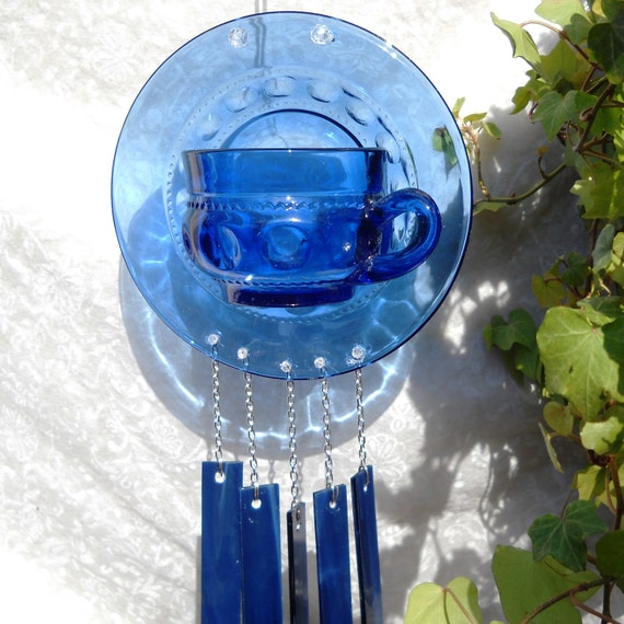 Vintage Kings Crown Thumbprint Tea cup and Saucer Wind chime Suncatcher