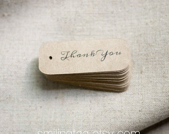 Miniature Thank You Kraft Gift Tags - Rustic Wedding Favor Tags - Thank You Gift Tags - Bridal Shower - Party - Set of 40 (Item code: J279)