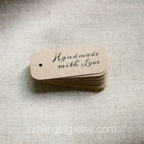 Miniature Handmade with Love Gift Tags on Thick Kraft Cardstock - Wedding Favor Tags - Packaging Tags - Set of 40 (Item code: J278)
