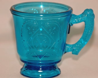 Antique DIAMOND w/ CIRCLE in SAPPHIRE Blue Vintage Early Ca 1880 American Pattern Glass Mug Beautiful Condition Rare Collectible