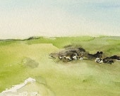 To the monument -Original plein air watercolour landscape painting, watercolor art of Isle of Wight coast and countryside by Elizabeth Cadd