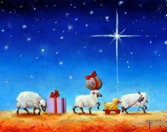 """Sheep Incognito """"Caravan to Baaathlehem"""" Christmas Original Painting"""