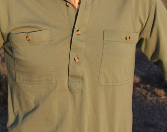 Cuban Cigars - Vintage Army Green Indie Deep V Polo Shirt, Haband, Small