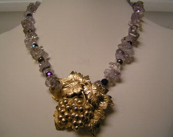 The End of the Day Necklace, Wine, Grape and leaves necklace, Crystals, pearls, Jewelry