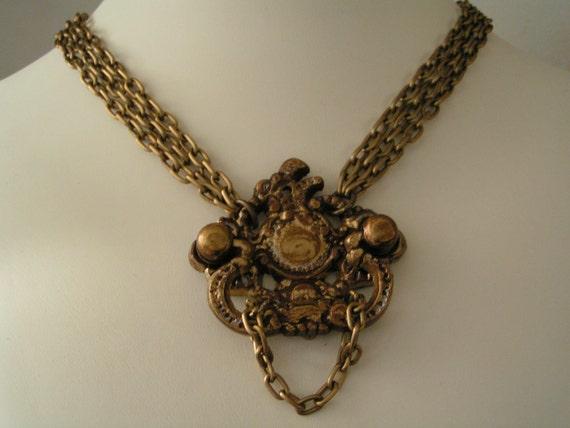 The Knock Twice Necklace: Queen Anne drawer pull, Pendant, Door knocker, Steampunk, Choker, Jewelry, photo shoot, Avant Garde, Uniquely odd