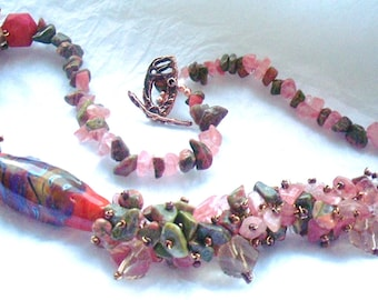 Beaded Coral Necklace - Coral  Lampwork Focal Bead, Hand Made Necklace SRAJD