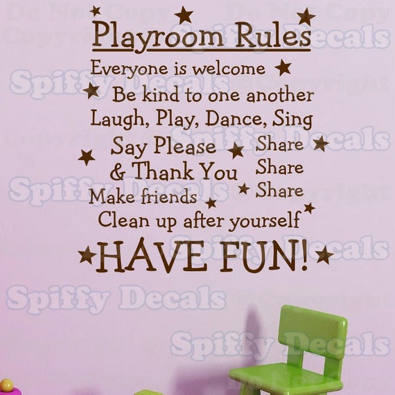 Playroom Rules Have Fun vinyl wall quote