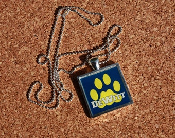 DeWitt Panthers Square Pendant, School Spirit Jewelry, Graduation Gift
