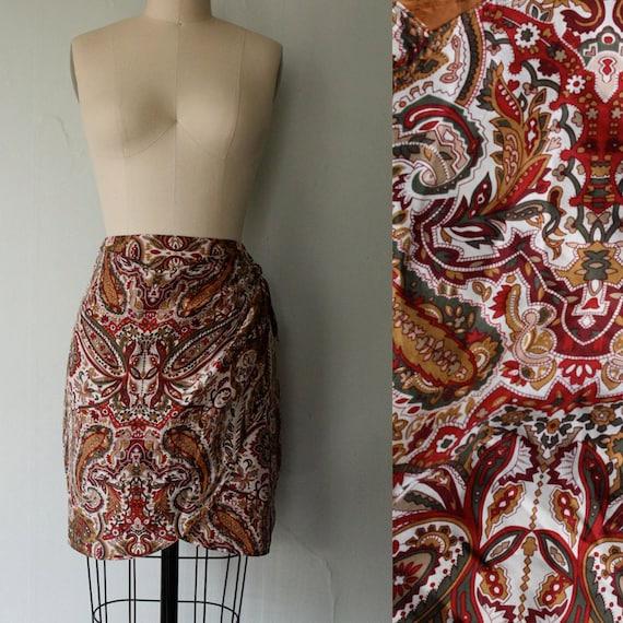 vintage silk paisley wrap skirt / jewel tone print / 1980s