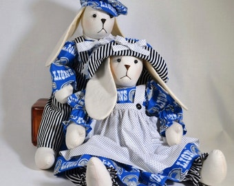 Boy Girl Bunny Dolls in Detroit Lions NFL Outfits Handmade