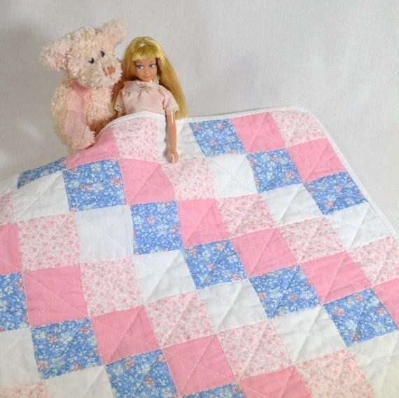 Teddy Bear Barbie Doll Small Quilt Handmade