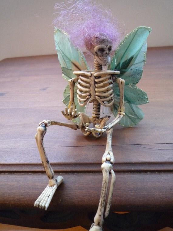 Halloween, decoration, skull, skeleton, goth, creepy, dark, faerie, holiday,doll, fairy, pin
