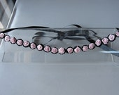 Pale Pink Satin Flower Black Sequin Halo Headband with Black Satin Ribbon Tie, for weddings, bridesmaid, parties, special occasions