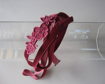 Mauve Pink Floral Applique Velvet Ribbon Tie Headband, for parties, night out, special occasion, Fall season