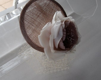 Silk Ivory and Rose Flower Sinamay Fascinator Hat with Veil and Beaded Headband, for weddings, bridesmaid, parties, special occasions