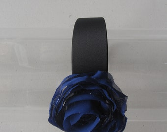 Royal Blue Chiffon Flower Black Satin Headband, for weddings, parties, evening, night out, special occasions