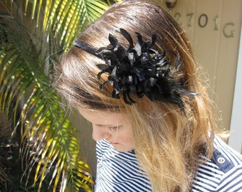 Black Silk Chrysanthemum Flower with Feathers Headband with Velvet Trim, for weddings, parties, holiday, festive, evening