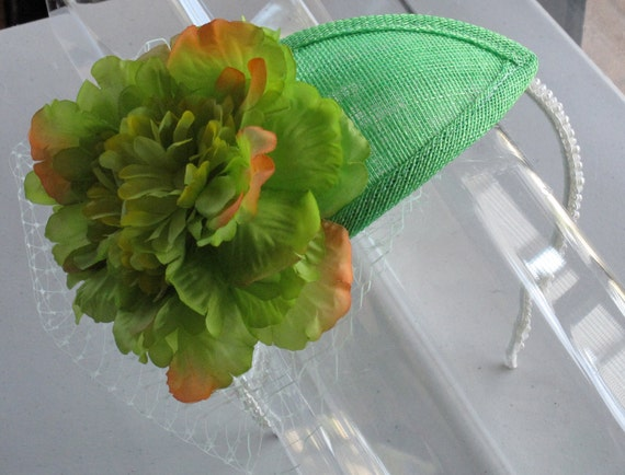 Apple Green Silk Flower Teardrop Sinamay Fascinator Hat with Veil and Pearl Beaded headband, for weddings, parties, special occasions