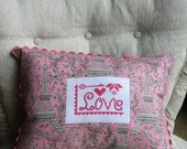 Valentine Accent Pillow, Valentine Decoration, Love Toile Accent Pillow. Cross Stitch Pillow - AveryleeDesigns