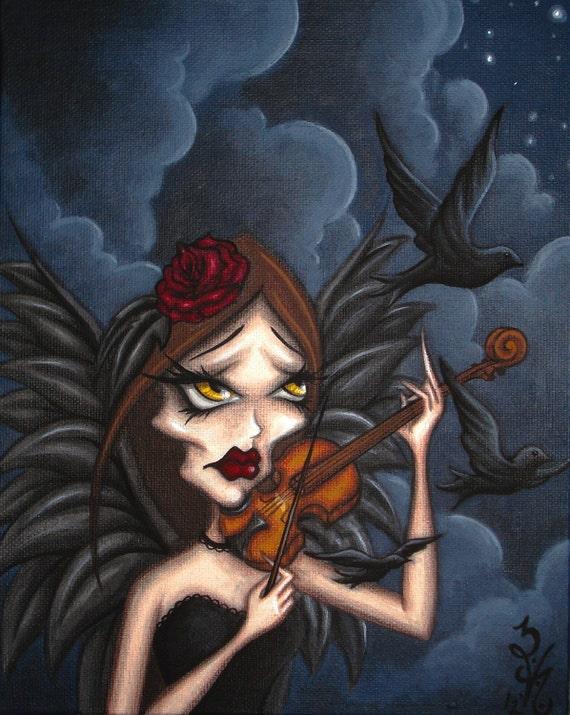 ORIGINAL Gothic Fantasy Fairy Angel PAINTING Rose Raven Crow Violin Music Dark Night Sky Natalie VonRaven