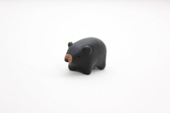 black bear figurine polymer clay animal miniature bear miniature small